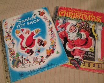 2 Vintage Little Golden Book...Vintage Christmas Books...Walt Disney Collectable Books...Santa Claus Books, 1950 and 1982...85