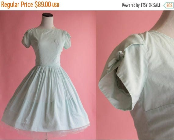 SALE 15% STOREWIDE 1950s cotton dress/ 50s seafoam green day dress/ bow petal sleeve party dress/ extra small xs