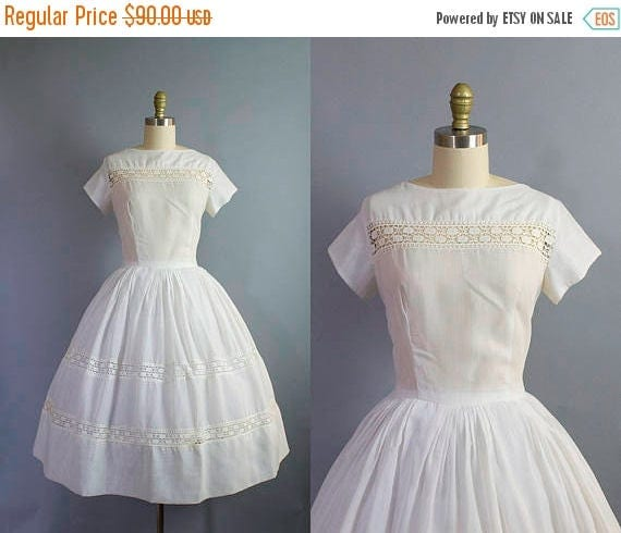 SALE 15% STOREWIDE 1950s white day dress/ 50s cotton sundress with lace detail/ medium