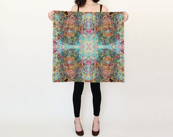 Mandala Square Scarf, Bohemian, Neon, Rainbow, Sacred Geometry, Geometric, Pattern, Art, Painting, Watercolour, Festival, Psychedelic, Shawl