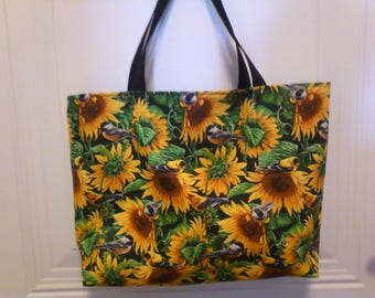 Sunflower  print tote bag