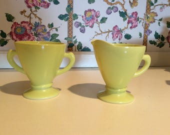 Vintage Anchor Hocking Sugar Bowl and Creamer