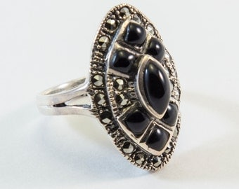 Art Deco Style Black Onyx and Marcasite Ring