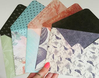 Handmade envelopes. 5 envelopes. vintage colors and desings. Happy mail envelopes