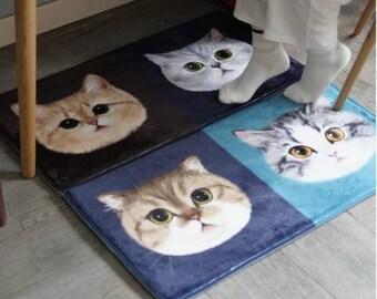 Super Soft Small Rug With Cat Patterns Pets Rug Bath Rug Slip Resistant  Bathroom Rug Door