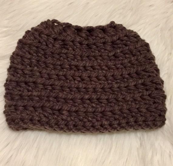 Child-teen size Messy bun beanie // ponytail beanie hat // bun beanie // chunky beanie // winter beanie // womens hat // ready to ship