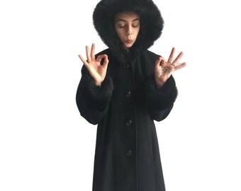 Vintage Long Black Hooded Wool Coat w/ Fur Trim