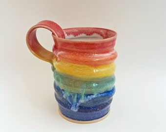 Rainbow Pottery Coffee Mug - Tea Cup - Stoneware Mug - Ceramic Tea Mug - Handmade Pottery Mug - Unique - Made in Yorkshire - UK - Zoz Pots