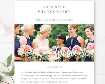 Wedding Photography Email Template, Email Newsletter Template, Photography Welcome Guide, Newsletter Template for Email
