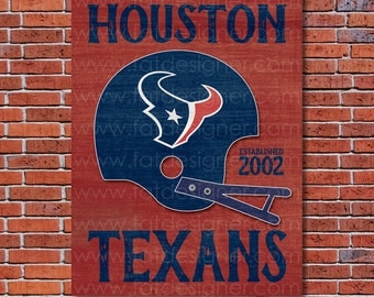 Houston Texans - Vintage Helmet - Art Print - Perfect for Mancave