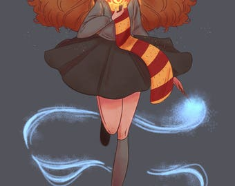 Hermione and her time turner - harry potter - gryffindor - art print