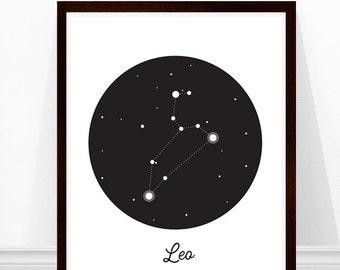 Leo Constellation Print, Zodiac Art Print, Astronomy Art, Constellations, Modern Art Print