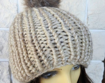Hand Knitted Beige Winter Hat With Light Brown Pompom - Free Shipping