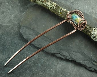 hair, fork,headpiece,wire work, labradorite