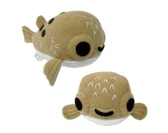 Pufferfish Plush Pattern, Puffer Fish Toy, Blowfish Plushy Sewing, Fish Toy Pattern, Fish Sewing, Stuffed Animal Pattern, Blowfish Plush Toy