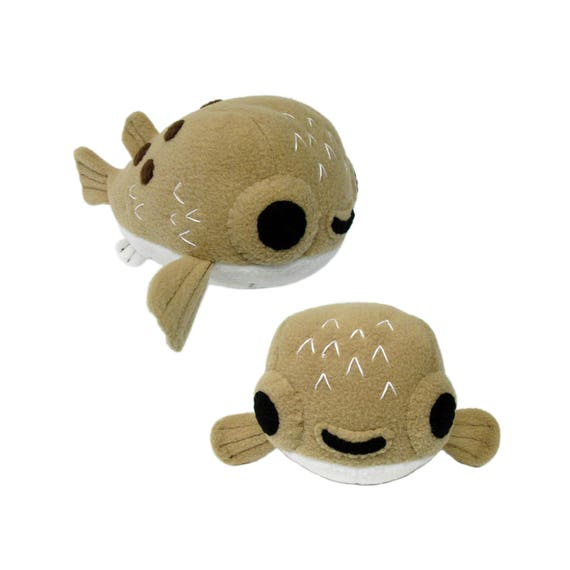 Stuffed animal pattern plush sewing pattern puffer fish for Fish stuffed animal