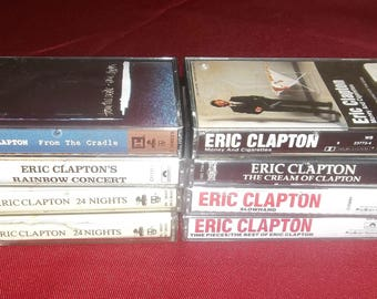 ERIC CLAPTON  Cassette Tape Collection Money And Cigarettes, Slowhand, Best Of From The Cradle, Rainbow Concert Plus More! Gift For Dad