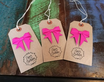 Birthday Gift Tags, Pink Origami Bow, Pack of Three