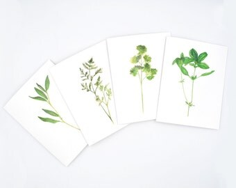 Watercolor Cards, Botanical Notecard Set, Gift for Gardener, Herb Notecard, Botanical Stationary, Gifts for Mom, Herb Painting, Kitchen Art