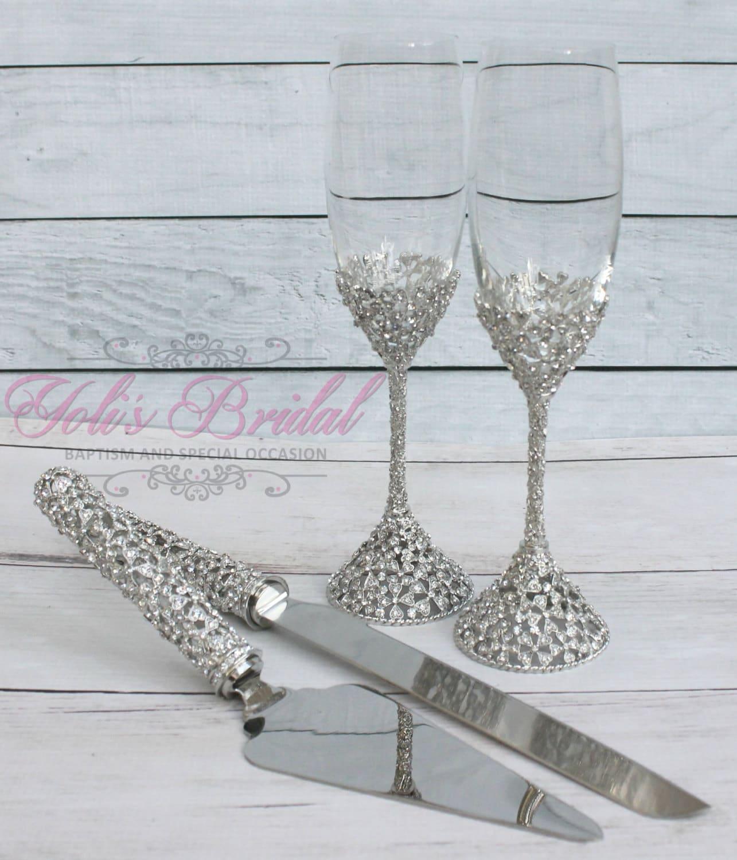 Swarovski Crystal Wedding Toast Set Champagne Glasses