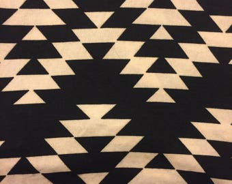 Southwest Aztec Triangle Knit Fabric - Black & ivory