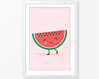 Kids poster,baby girl poster,nursery poster,digital poster,instant download,Scandinavian style,modern nursery poster,watermelon illustration