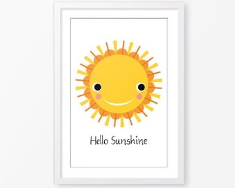 Hello Sunshine,motivational quote,printable art,kids quote,kids poster,sun,yellow,nursery decor,scandinavian style,kids room decor,happiness