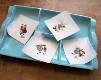 Vintage Handkerchiefs, 4 Hankies, Bled Slovenia, Cotton Hankies, Lace Trimmed Handkerchieves, Souvenir.