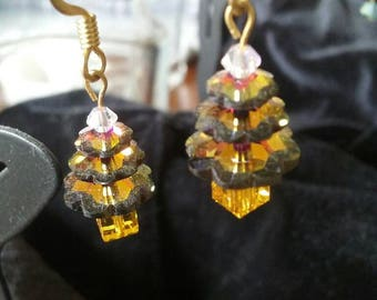 Green and Yellow Crystal Christmas Tree Earrings
