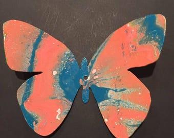 Hand Painted metal Butterfly yard art garden decor.