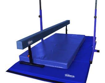 Blue Little Gym Deluxe Equipment Set - Gymnastics Bar, Adjustable Balance Beam, 8ft Gymnastics Tumbling Mat, Landing Mat