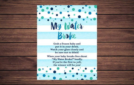 blue my water broke baby shower game blue stripes blue teal confetti