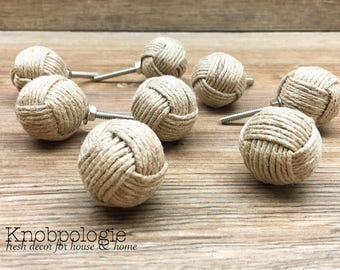 "SET OF 8 - 1.25"" Jute Rope Wrapped Knobs - Monkey Fist Knobs - Nautical Decor - Tan Burlap Rope - Natural Rustic Kitchen Home Accents"