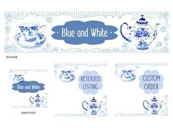Custom banner, etsy banner set, shop set, blue and white, shop icon, etsy shop graphics