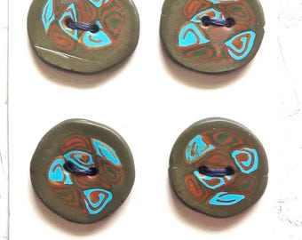 Six Handmade Polymer Clay Buttons--Los Botones