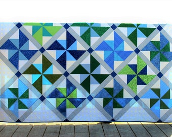 """Delightful Blue, Green and White Pinwheel Quilt, Homemade Patchwork Bed Quilt, Decorative Throw Quilt, Generous Lap Quilt, 60"""" x 80"""""""