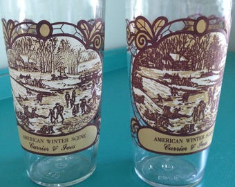 Vintage Currier & Ives 1979 Winter Scene Glasses