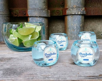 Shot Glasses With Lime Serving Dish From Upcycled Don Julio Tequila Bottles