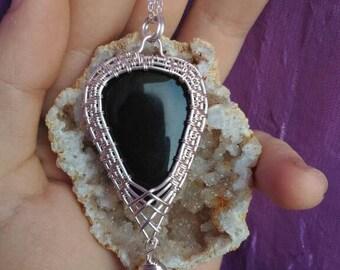 Black double  onyx pendant