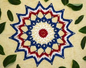 Patriotic Star Doily - Crochet Star Doily - Red White Blue Doily - Patriotic Decor - Memorial Day Decor - USA Crochet Doily - Crochet Doily