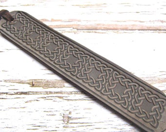 Celtic Leather Bookmark, Leather Book Mark, Personalized, Custom Leather Bookmark, Medieval Bookmark, Book Accessories, Leather Anniversary