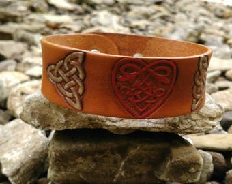 Celtic heart and knots leather cuff