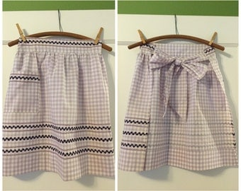 Vintage Half Apron, Purple And White Gingham Cotton Apron, Handmade, Vintage Half Apron with a Pocket.