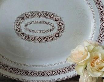 Large antique platter, serving plate, brown transfer ware