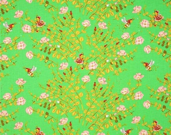 Briar Rose Nanny Bee in green by Heather Ross for Windham Fabrics Fat Quarter OOP HTF