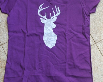Purple Lacy Deer T shirt, Ladies Shirt, Deer shilouette, Lacy Shirts, Gifts for her, Birthday Gift, Deer Head Shirt, Purple shirt