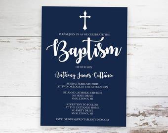Navy Blue Baptism Invitation INSTANT DOWNLOAD  - Boys Baptism Invitation in Navy by Printable Studio