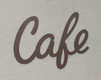 "Vintage Style Large 16"" x 12"" Cafe Wall Word cut Out Wood Coffee Sign"