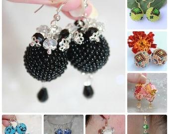 SALE 25% on sale Ball earrings Seed bead earrings Bead woven earrings Round earrings white Summer Earrings Spring earrings Dangle