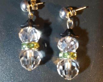Crystal Post Snowman Earrings
